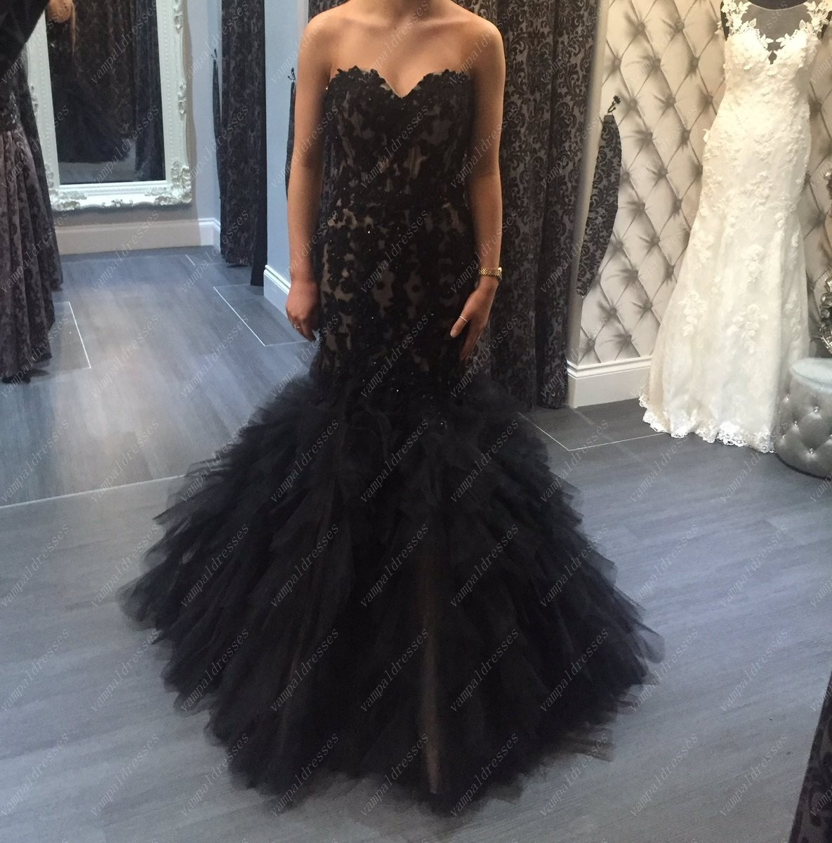 Primary image for Black Strapless Lace Bodice Tulle Mermaid Dropped Waist Formal Dress