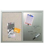 "MasterVision Combo Silver Dry Erase & Grey Fabric Bulletin Board, 18"" x ... - £34.57 GBP"