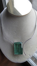 Huge Rare Blue Green 100 ct aquamarine 1.2 ct diamond & 14k gold necklac... - $29,999.99