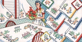 Animated Dancing Vegetables Kitchen Tea Towels embroidery pattern V198 - $5.00