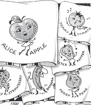 Alice Apple & More Anthro Fruit TOWELS embroidery & applique pattern mo1... - $5.00