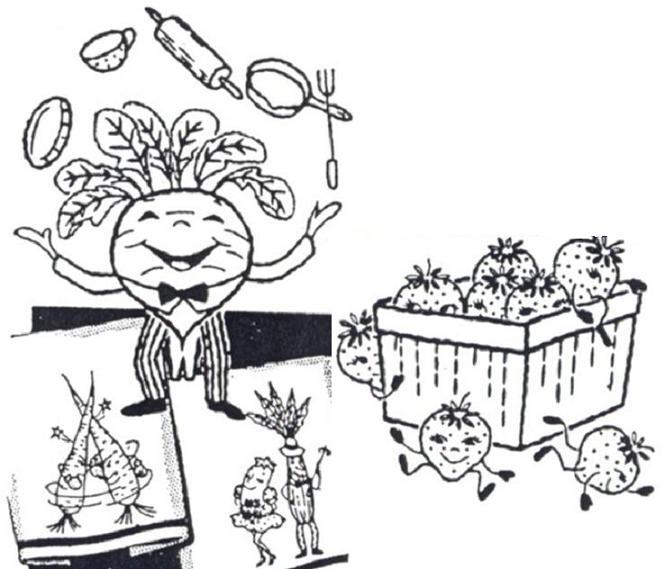 Animated Fruit & Vegetables and Fish Kitchen Towels embroidery pattern mo630