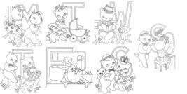 Kitten / Cat Family DOW  days of week Towels embroidery pattern AB7293  - $5.00
