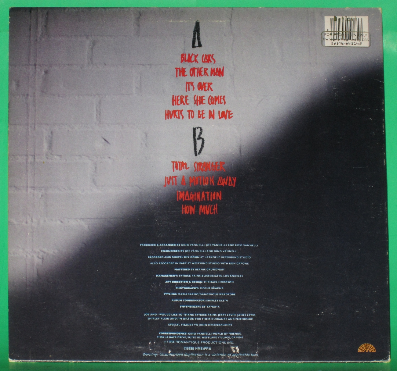 Gino Vannelli - Black Cars Vinyl