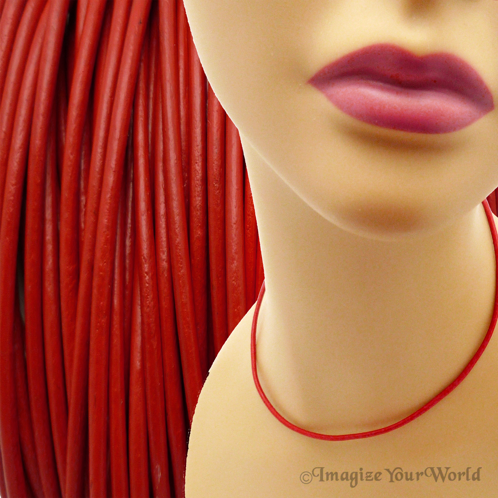 Primary image for Red 2 mm Leather Cord Necklace Custom Length choose Clasp Color scarlet crimson