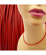 Red 2 mm Leather Cord Necklace Custom Length choose Clasp Color scarlet ... - $4.25+