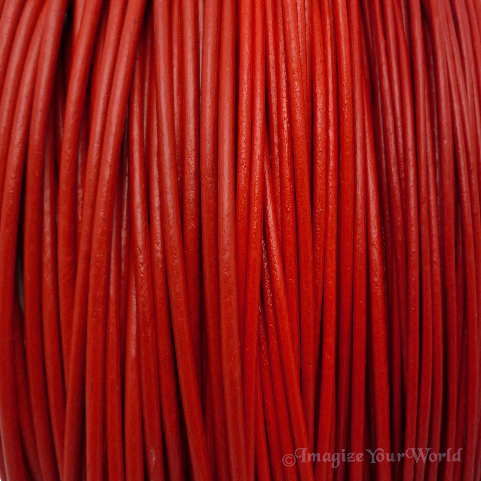 Red 2 mm Leather Cord Necklace Custom Length choose Clasp Color scarlet crimson