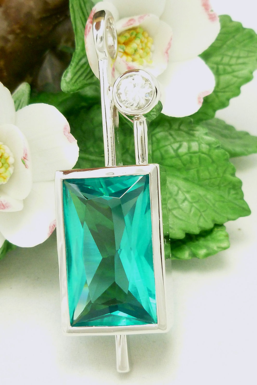 Platinum Plated Sterling Simulated Apatite Pendant Neon Green Blue