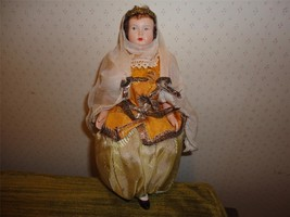 "Antique Vintage Small QUEEN Doll w Outfit Thin Plastic 7 1/2"" - $19.80"