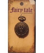 Fairy Tale Fantasy Brass Crown Faux-Watch Locket Necklace Pendant - $9.99