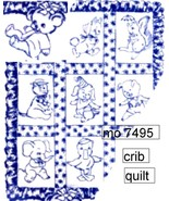 """Baby Animals Crib Cover embroidery pattern 34"""" x 45"""" mo7495  - $5.00"""