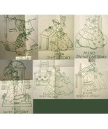 1930's Colonial Lady DOW - days of week Towels embroidery pattern mo587  - $5.00
