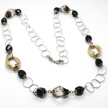 Necklace Silver 925, Ovals Satin Yellow, Nugget Bicolor, Chain Rolo ' , 60 CM image 1