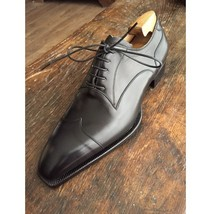 Handmade Men's Black Leather Lace Up Dress/Formal Oxford Shoes image 1