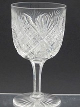 American Brilliant Period Cut Glass water  goblet Antique  abp hand blown - $45.50