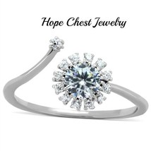 Women's Sterling Silver Open Top Flower Design Cz Fashion Ring Size 5   9 - $17.09