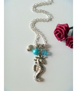 Handcrafted Sea Horse Pendant Necklace with Blue Beads  - $9.99