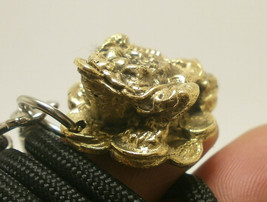 FROG TOAD ON CHINESE MONEY WEALTH RICH LUCKY GAMBLE WIN PENDANT & ROPE N... - $19.79