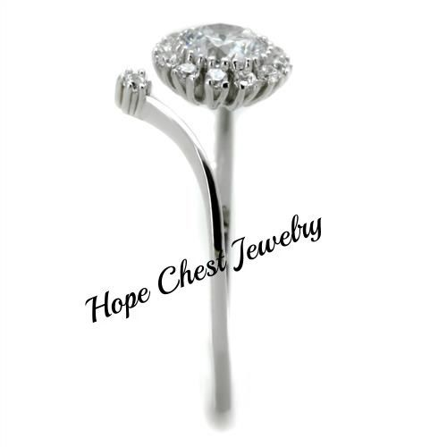WOMEN'S STERLING SILVER OPEN TOP FLOWER DESIGN CZ FASHION RING SIZE 5 - 9