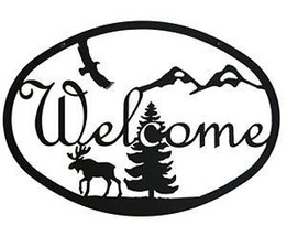 Wrought Iron Welcome Sign Moose & Eagle Silhouette Outdoor Plaque Home D... - $24.99