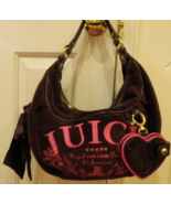 Juicy Couture Brown & Pink Velvet Hobo Purse HandBag Regal Couture Party... - $65.00