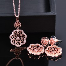 SINLEERY Series Jewelry Romantic Lace Hollow Flower Necklace Earring Ring Set Si - $13.94