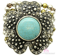 Giant Chunky Western Flower Dot Cabo Turquoise Stretch Bracelet Rustic T... - $13.46