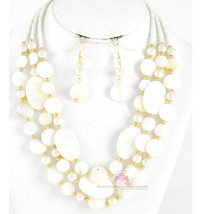 Shell Mother-of-Pearl Creamy White Layered Faux Pearl Bead Necklace Classic Set - $9.73