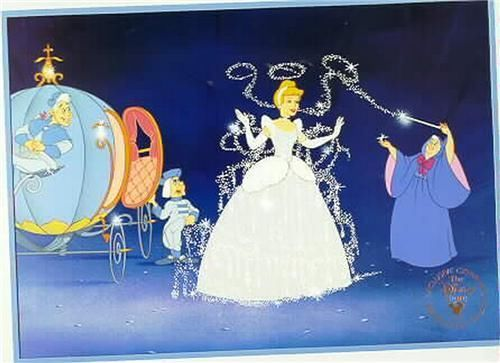 Disney Cinderella with Fairy God Mother and Coach Gold Seal Lithograph