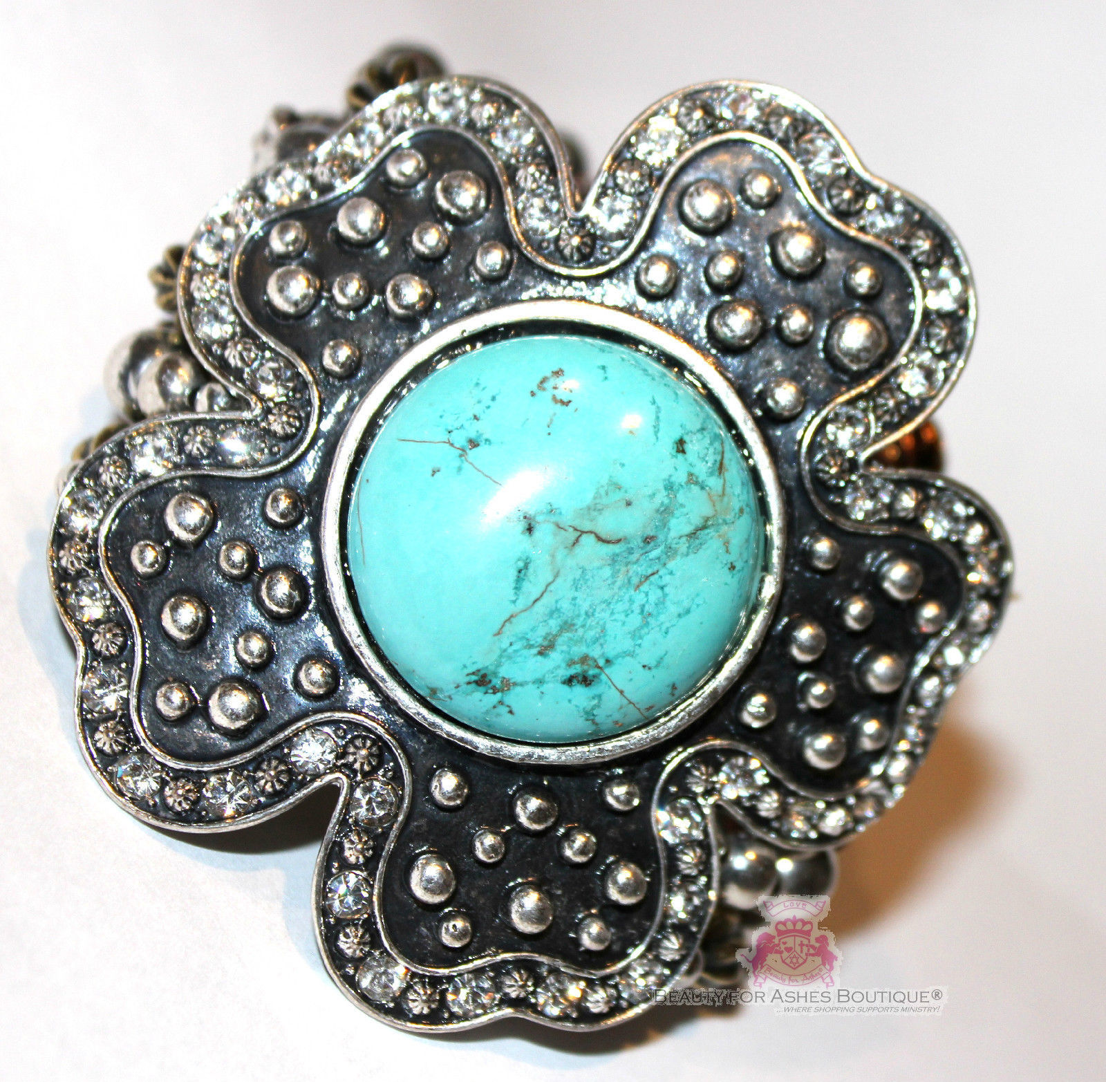 Giant Chunky Western Flower Dot Cabo Turquoise Stretch Bracelet Rustic Tritone