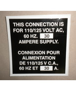 RV Decal This Connection Is For 110/125V AC, 60 HZ 30 Amp Supply English... - $6.86