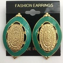 Vintage Big Enamel Pierced Earrings Satin Brushed Gold Tone Green Medall... - $13.33