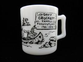 Vintage Hazel Atlas Black Print Davy Crockett Mug - $18.00