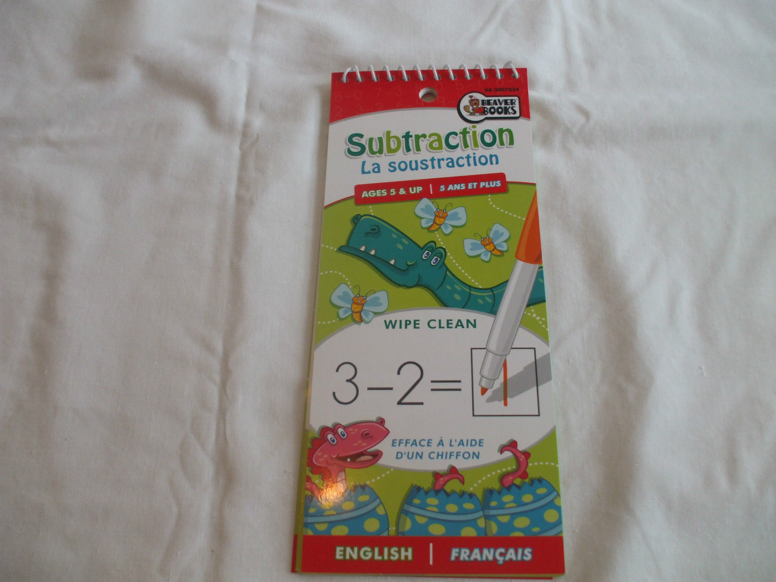 Subtraction Wipe Clean Pad   English & French  Ages 5+   Beaver Books