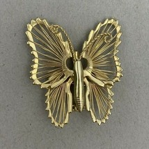 Filigree Butterfly Brooch Pin Gold Tone Small Ornate - $12.58
