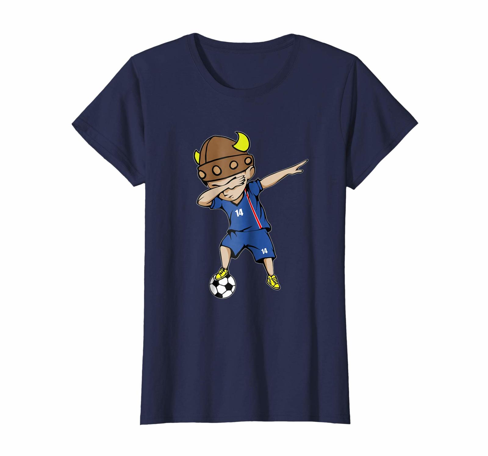 Sport Shirts - Dabbing Soccer Boy Iceland Jersey T-Shirt - Number 14 Tees Wowen