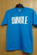 NEW BLUE SIZE MEDIUM MENS OR WOMENS SINGLE T SHIRT BLUE SHIRT WHITE WRITING - $1.99