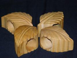 Vintage Hardwood Leaf Napkin (4) Rings Holder Set Mid-Century Modern - $18.40