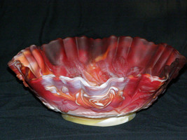 "Vintage Imperial Glass Red Slag Bowl Makers Mark incised 9.5""  Crimped T... - $69.30"