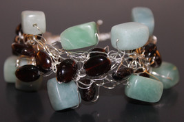 Handcrafted Pale Aqua Amazonite Bracelet with Smoky Quartz - $29.99