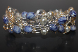 Handcrafted Dumortierite Quartz Bracelet with Freshwater Pearls - $29.99