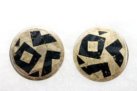 Vintage Avon Geometric Transfer Disk Earrings - $5.99