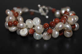 Handcrafted Goldstone Beads Bracelet with White Glass Pearls - $24.99