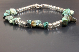 Handcrafted Green/Gray Glass Beads Bracelet - $14.99
