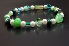 Handcrafted Green Glass Bead Bracelet with Elastic Band - $14.99
