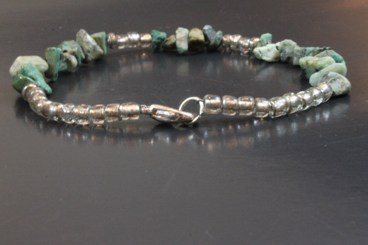 Handcrafted Green/Gray Glass Beads Bracelet
