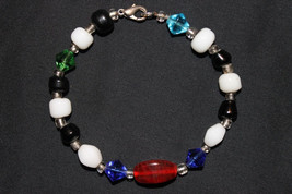 Handcrafted Multi Color Glass Beads Silvertone Bracelet - $14.99