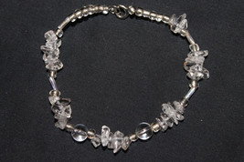 Handcrafted Glass Chip Beads Bracelet Silver Tone - $7.99