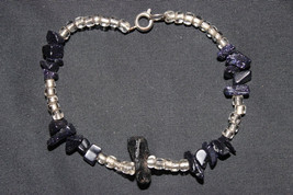 Handcrafted Black Chips Beads Silvertone Bracelet - $14.99