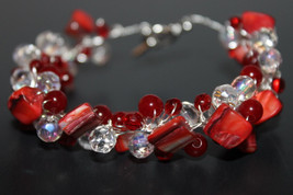 Handcrafted Red Glass Beads Bracelet with Crystal Beads - $19.99